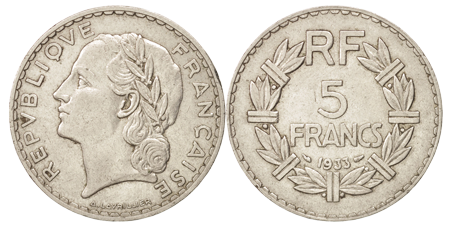 5 francs de 1933 en nickel