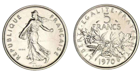 5 francs 5 em république en CUPRO-NICKEL